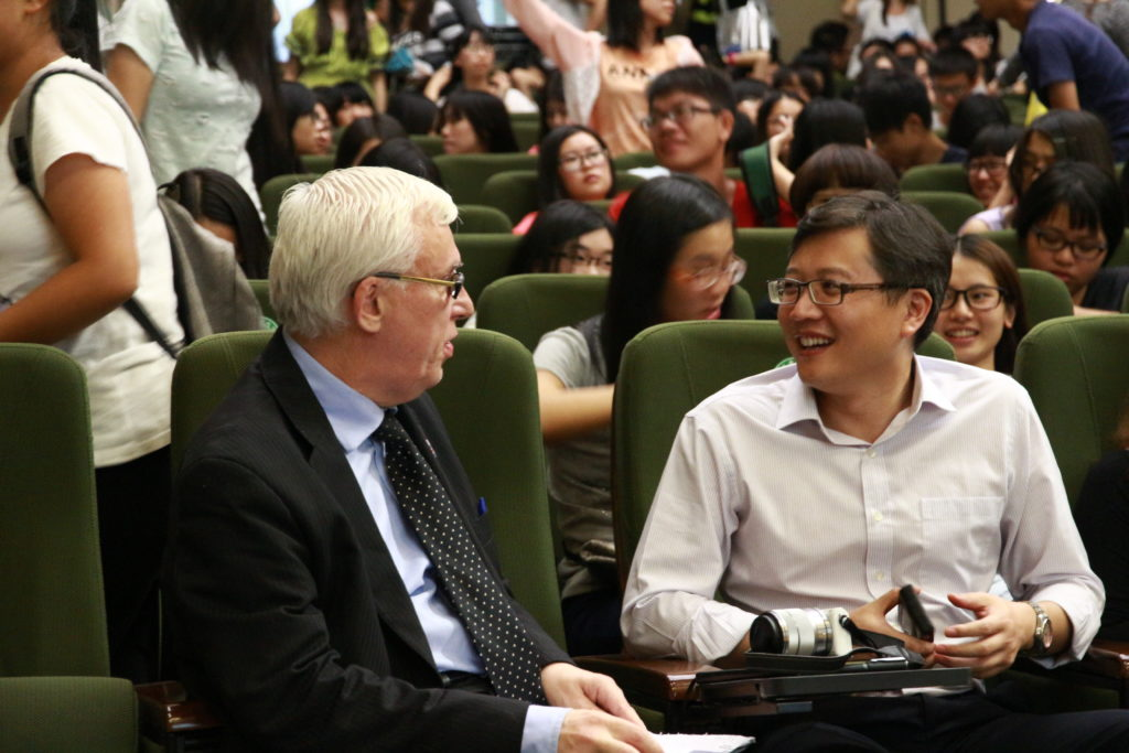 Michael after lecture at Dongguan University