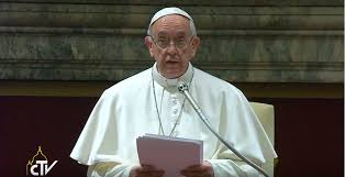 Pope Francis addressing the Curia....